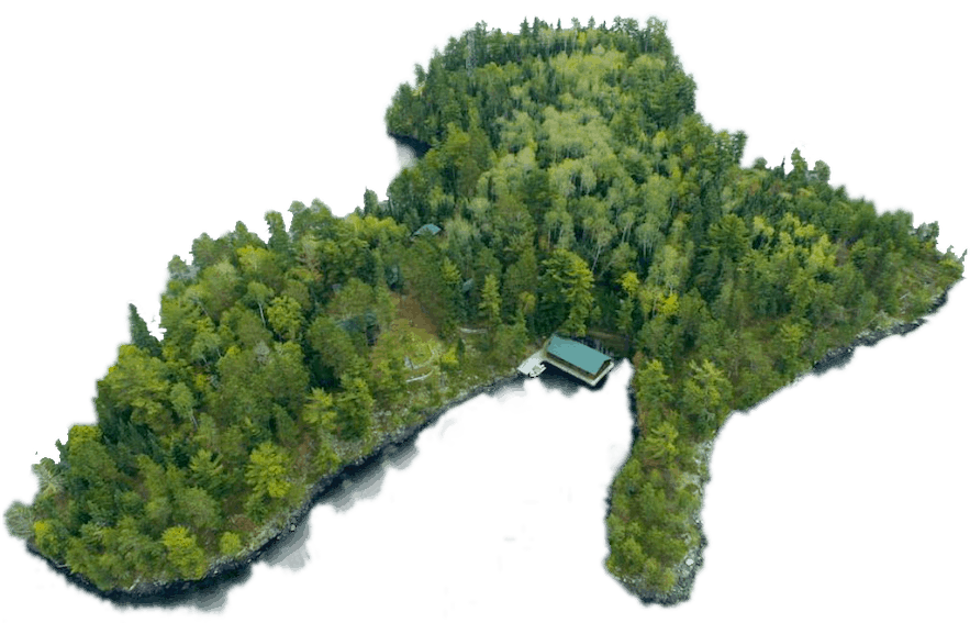 Aerial view of Private Island Resort on Lake of the Woods