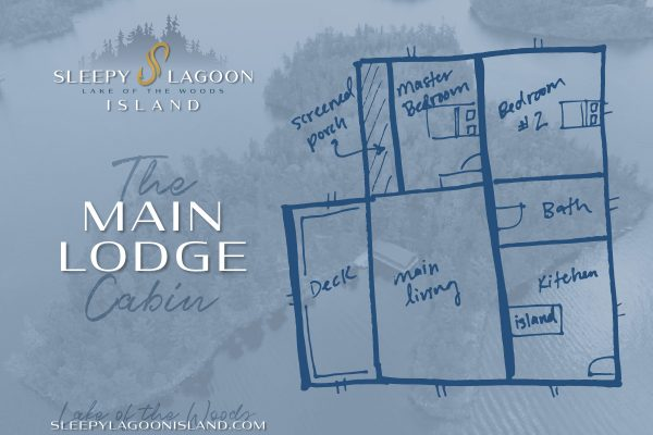 Lake of the Woods Log Cabin Rental Floor Layout - Main Lodge Cabin